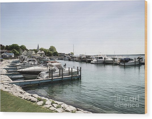 Mackinac Marina Art Wood Print