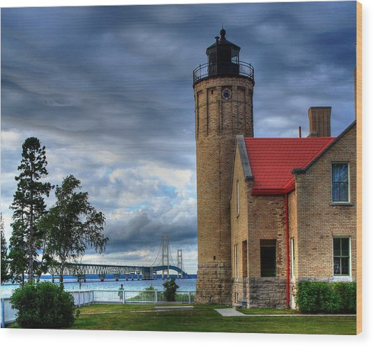 Mackinaw Bridge And Lighthouse Wood Print