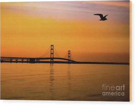 Mackinaw Sunset  Wood Print