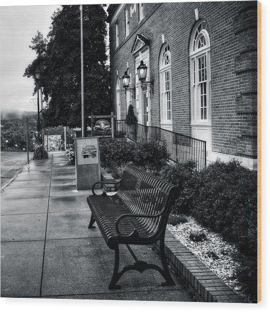 Macon County Emergency Services In Black And White Wood Print