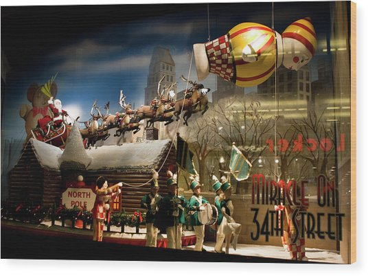 Macy's Miracle On 34th Street Christmas Window Wood Print