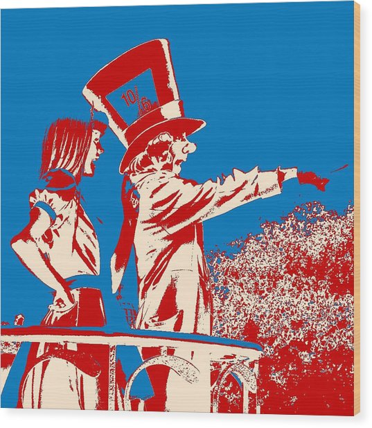 Mad As A Hatter Wood Print by Sharon Cross