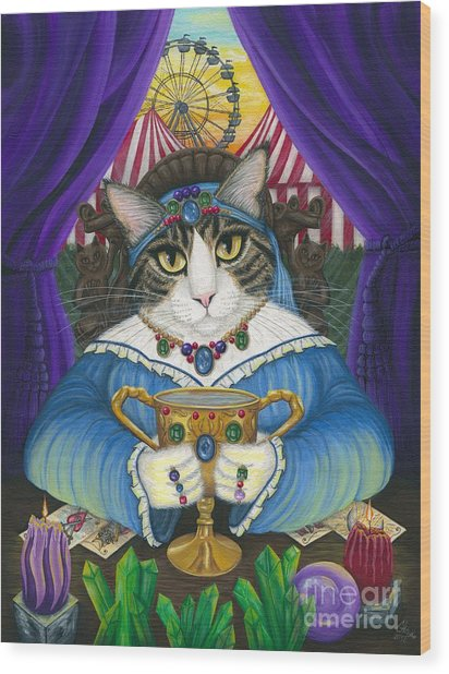Madame Zoe Teller Of Fortunes - Queen Of Cups Wood Print