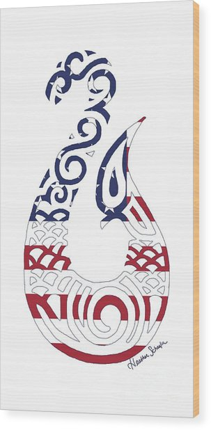 Made In The Usa Tribal Fish Hook Wood Print