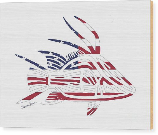 Made In The Usa Tribal Hogfish Wood Print