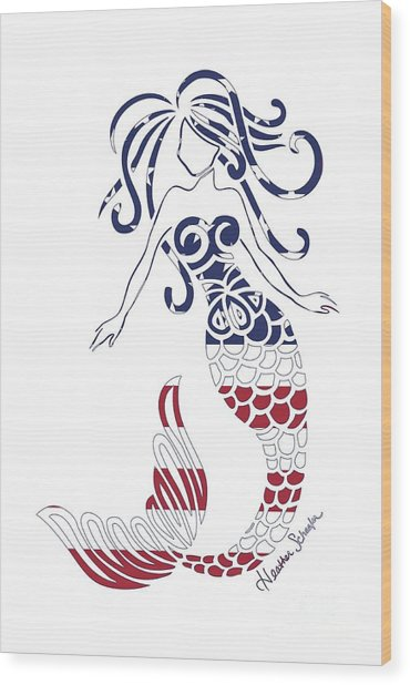 Made In The Usa Tribal Mermaid Wood Print
