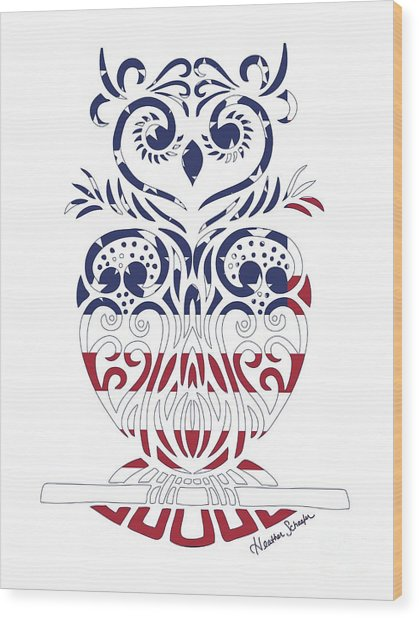 Made In The Usa Tribal Owl Wood Print