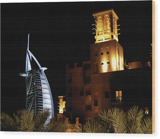Madinat And Burj Al Arab Hotels Wood Print by Graham Taylor