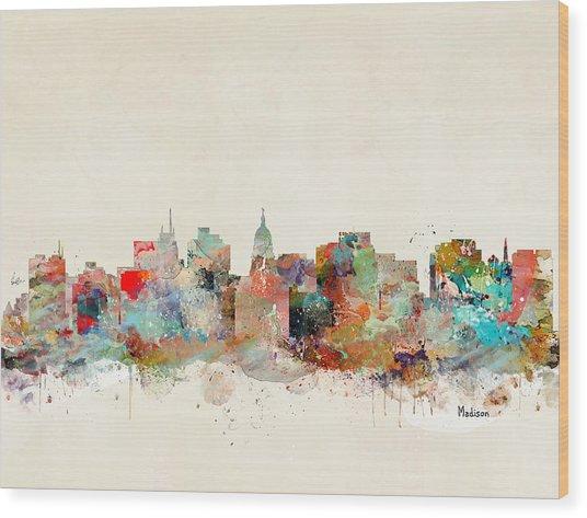 Madison City Skyline Wood Print