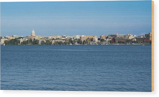 Madison Skyline From Picnic Point Wood Print