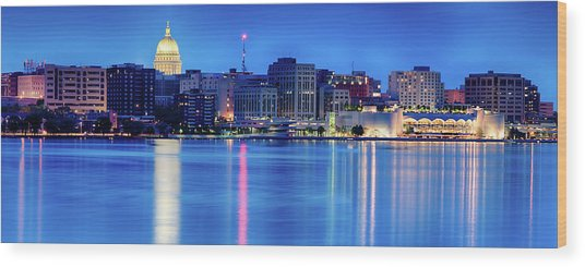Madison Skyline Reflection Wood Print
