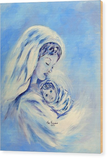 Madonna And Child By May Villeneuve Wood Print