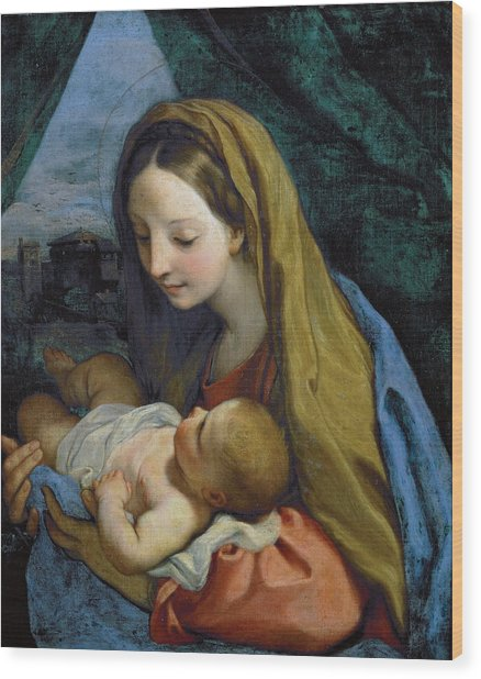 Wood Print featuring the painting Madonna And Child by Carlo Maratta