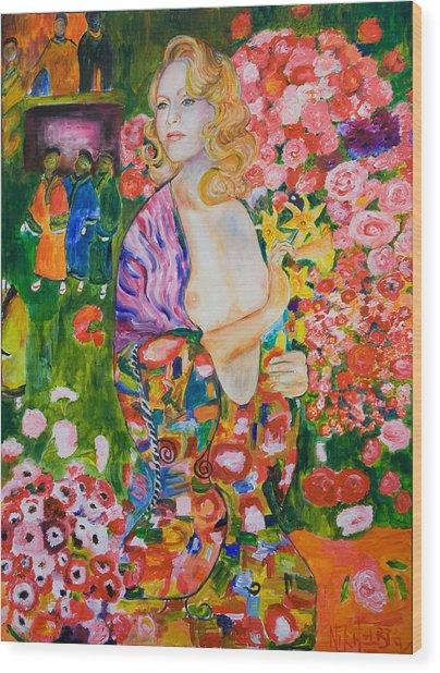 Madonna In Klimt Wood Print by Nik Helbig