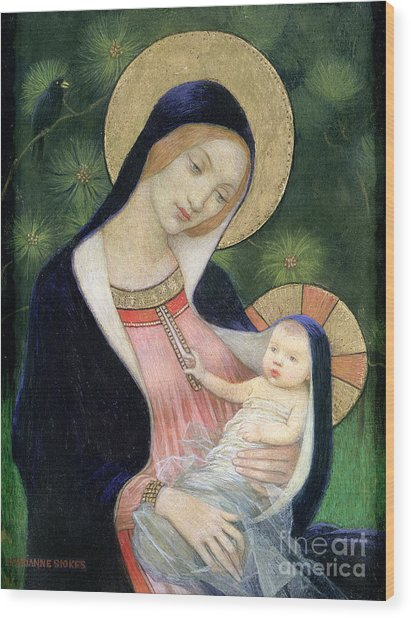 Madonna Of The Fir Tree Wood Print
