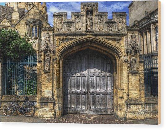 Magdalen College Door - Oxford Wood Print