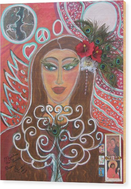 Magdalena The Peacock Gypsy Wood Print by Susan Risse