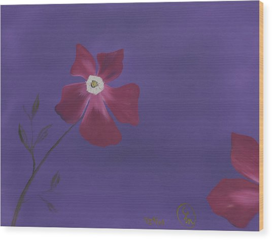 Magenta Flower On Plum Background Wood Print
