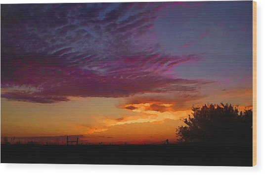 Magenta Morning Sky Wood Print