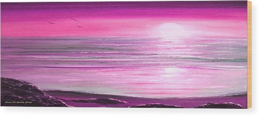 Magenta Panoramic Sunset Wood Print