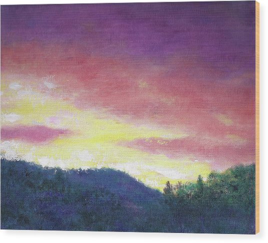 Magenta Sunset Oil Landscape Wood Print