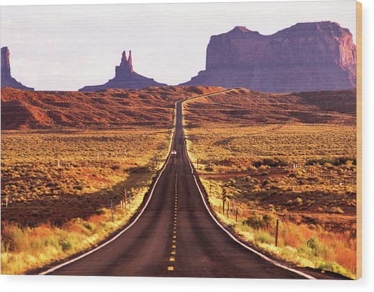 Magestic And Lonesome Road To Monument Valley Wood Print by Kim Lessel