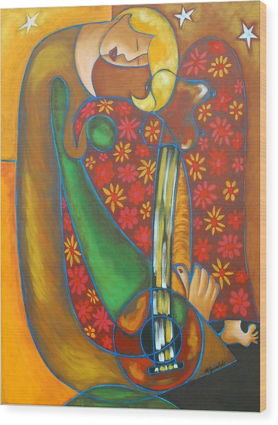Maggie Guitar Wood Print by Marta Giraldo