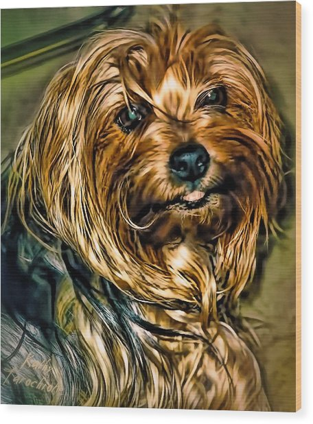Wood Print featuring the photograph Maggie Smiles by Kathy Tarochione
