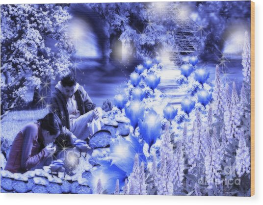 Magic Flower Path Wood Print