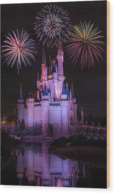 Magic Kingdom Castle Under Fireworks Wood Print