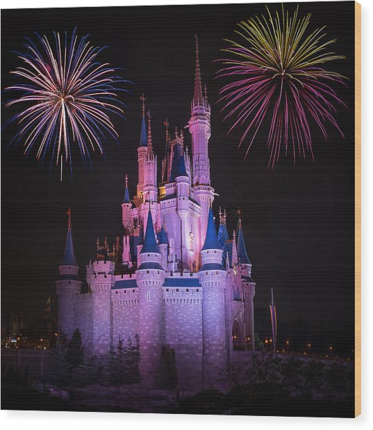 Magic Kingdom Castle Under Fireworks Square Wood Print