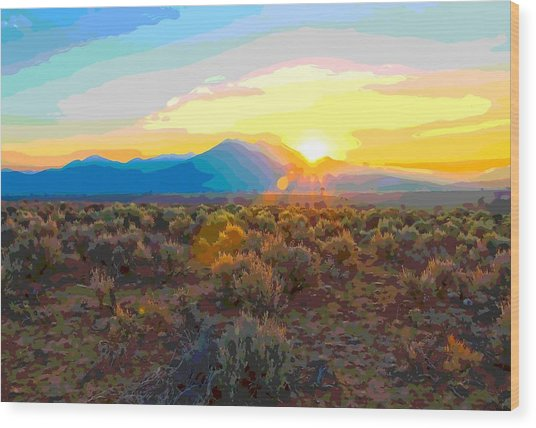 Magic Over Taos Wood Print
