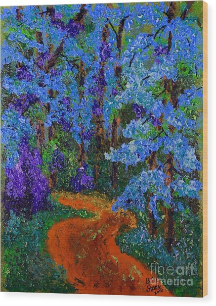 Magical Blue Forest Wood Print