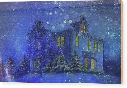 Magical Blue Nocturne Home Sweet Home Wood Print