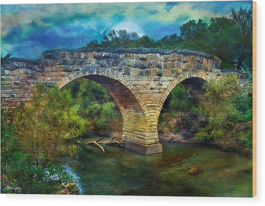 Magical Middle Of Nowhere Bridge Wood Print