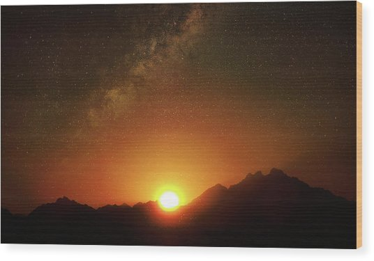 Magical Milkyway Above The African Mountains Wood Print