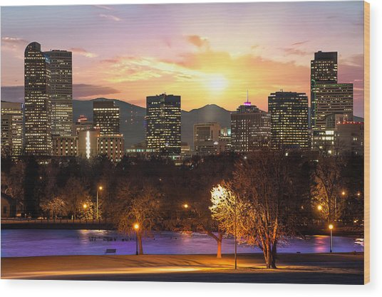 Magical Mountain Sunset - Denver Colorado Downtown Skyline Wood Print