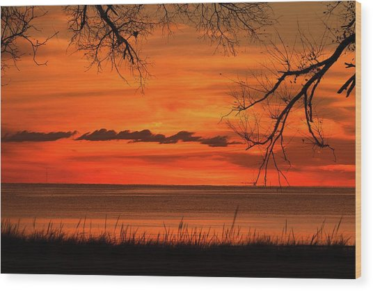 Magical Orange Sunset Sky Wood Print
