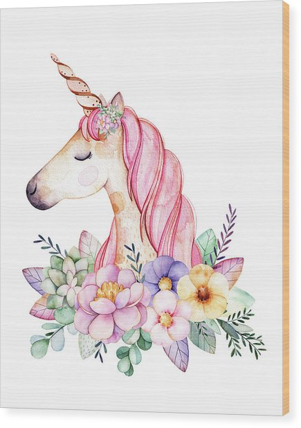 Magical Watercolor Unicorn Wood Print