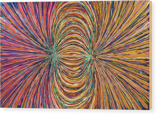 Magnetic Strings Wood Print by Patrick OLeary