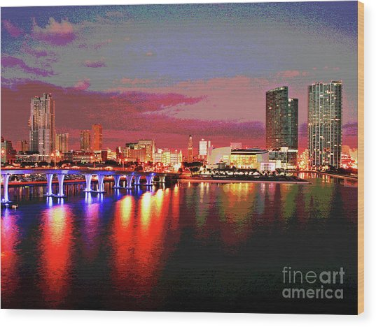 Magnificent Miami Sunrise Wood Print