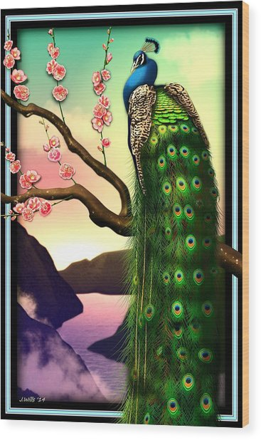Magnificent Peacock On Plum Tree In Blossom Wood Print