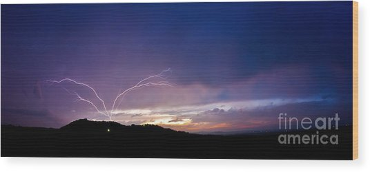 Magnificent Sunset Lightning Wood Print