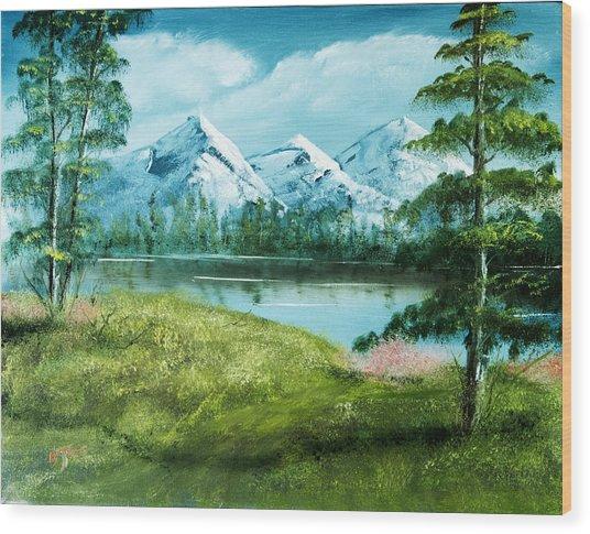 Magnificent Vista - Mountain Landscape Wood Print by Barry Jones