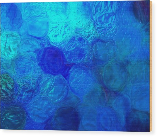 Magnified Blue Water Drops-abstract Wood Print