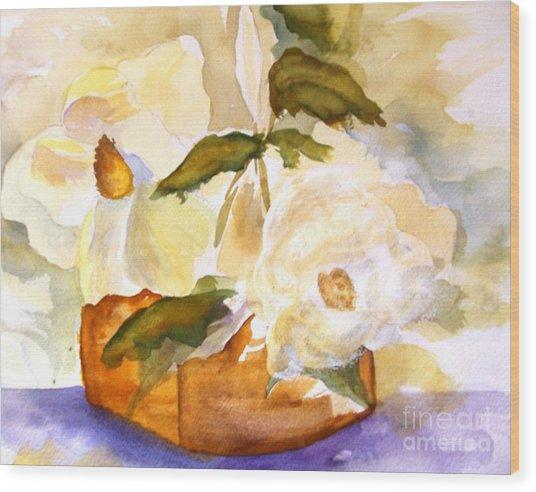 Magnolia Blossoms Wood Print by Sandi Stonebraker