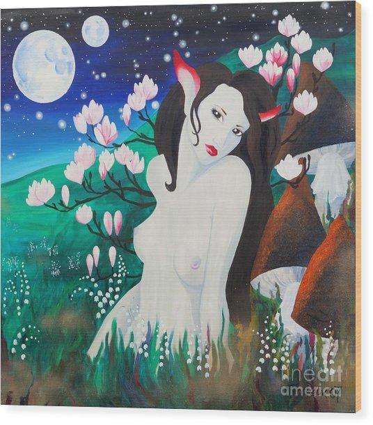 Magnolia Wood Print by Tiina Rauk