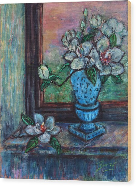 Magnolias In A Blue Vase By The Window Wood Print