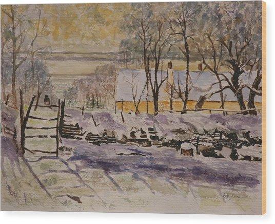 Magpie After Claude Monet Wood Print