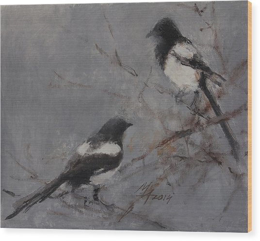 Magpies Wood Print
